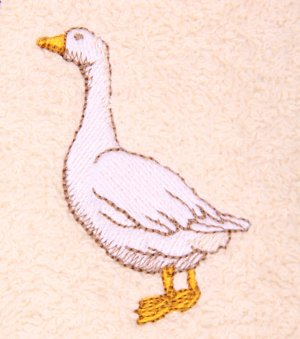 Domestic Goose Embroidered Brown Bath Towels