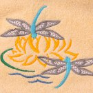 Two Dragonflies and a Lily Embroidered White Bath Towels