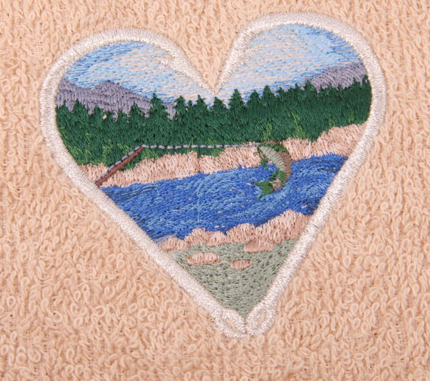 Fly Fishing Scene On Embroidered Medium Blue Bath Towels
