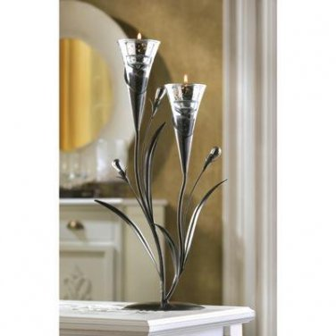 Silver Dawn Lily Tealight Holder