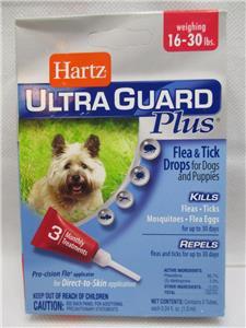Hartz UltraGuard Plus Dog Flea Tick Mosquito Drops 3 Month 16lb - 30lb ( 2 PAKS)