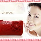 Lady cowhide flower Leather Long Wallet Purse in different colorsway