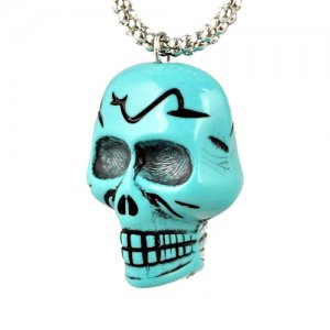 cool pendant skull necklace turquoise color,NL-1785