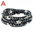 Unisex cross leather friendship crystal bracelet 2 colors free shipping BR-1310