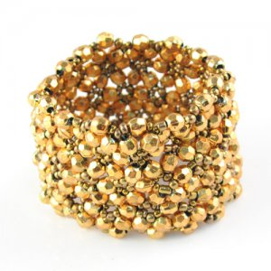NEW Golden color beads wide bracelet fashion jewelry woman accessory BR-1190A