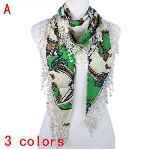 Fashion ladies triangle wrap lacy print scarf Yarn silk shawl 3 colors NL-1858