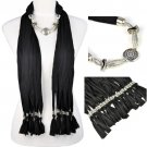 jewelry scarf CCB beads lady fashion shawl black white, free shipping, NL-1842