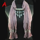 New design clear crystal beads drop jewelry scarf pendant scarf necklace NL-1494