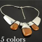 3 rhinestones fashion necklace for woman choker resin stone pendant, NL-799