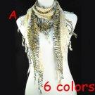 sexy Leopard print scarf beads drop tassels triangle shawl free shipping NL-1491