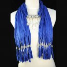 Blue jewelry scarf with clear crystal pendant new necklace freeshipping NL-1494J