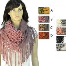 Winter warm knitting scarf infinity tassels scarf for woman multicolors NL-1929