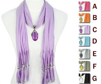 1 pcs Fashion resin stone pendant scarf jewelry scarf necklace 7 colors, NL-1678