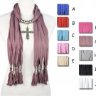 Cross pendant scarf winter shawl jewelry scarves 10 colors fashion, NL-1831