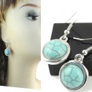 1 pair round turquoise dangle earrings HOOK design fashion lady earrings ER-500