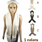 Cute ears hood scarf with pockets winter warm scarves funny accessories NL-1769