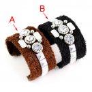 Winter plush bangle cuff open style fashion 2 colors rhinestones bracelet BR1264