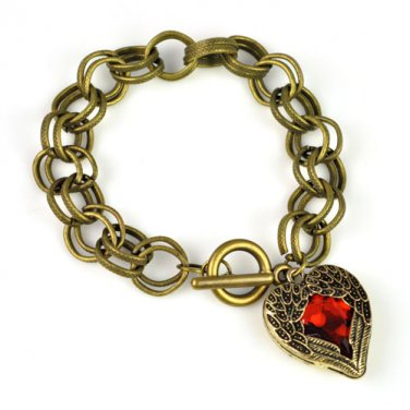 angle wing with red heart pendant charm bracelet fashion woman bracelet BR-1389