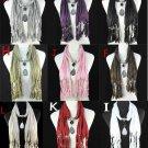 18 pcs/lot wholesale water-drop charm pendant scarf fashion jewelry scarf NL1222
