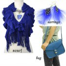 blue tone woman fashion accessories knitting charms scarf shoulder bag earrings