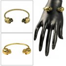 Metal alloy skull bangle antique brass golden color fashion cool cuff  BR-1386