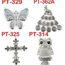 4 styles 12 pcs Metal butterfly peacock cross owl pendant scarf DIY accessories