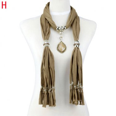 Wooden jewelry scarf with resin pendant charms scarf fashion neckace lot NL-2019