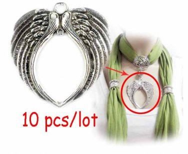10 pcs metal angel wing heart pendant 7cm long charms scarf jewelry parts PT-304