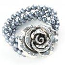 1 pcs Metal rose charms beads elastic bracelet multilayer fashion BR-1127