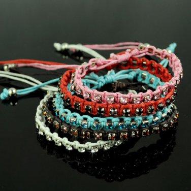 handmade rhinestones rope weave bracelet adjustable size friendship gift BR-1265