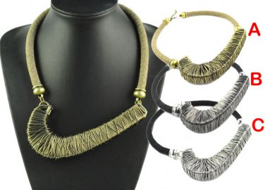 alloy hooked necklace wire winding fashion large necklaces 3 colors NL-1574