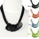 punk painting iron chain cicle necklace multirow 4 color fashion necklace NL1963