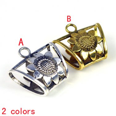 100 pcs/lot wholesale metal bails sunflower DIY jewelry scarf tube slide PT-511