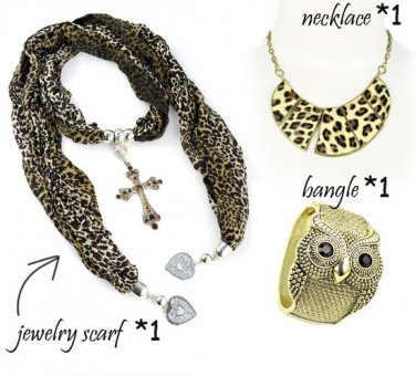 Leopard print woman jewelry accessories rose pendant scarf necklace owl bangle
