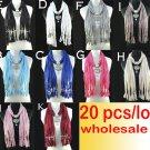 20 pcs/lot wholesale metal heart pendant scarf 10 colors jewelry scarf shawl