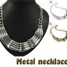Vintage style casting pendant necklace metal choker collar bib 2 colors NL-1726