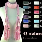 braid charms scarf 12 colors 70.86 inches long winter jewelry scarves NL-1557