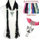 Cute angle girl pendant charm scarf braid weaved scarf 12 colors, nl-1758