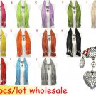 12 pcs/lot CCB heart pendant scarf fashion jewelry charms scarves winter NL-1790