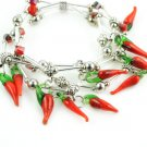 1 pcs glass red  pepper charms elastic bracelets fashion jewelry woman BR-1272