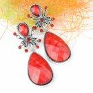Red resin earrings with stones earrings fashion woman earrings stud fasten ER477