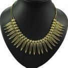 Vintage Style Retro Bronze Metal Carved Leaf Tassel Choker Necklace NL-1731B