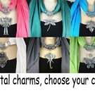 new metal jewelry charms scarf polyester yarn tassels jewelry scarf choose color