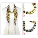 Leopard jewellery beads scarf with 2 ending jewelry chains drops scarves NL2031