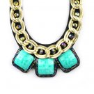 Fashion Chunky Golden Plated Chain Resin Square Bib Necklace NL2062