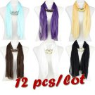 12 pcs wholesale spring yarn scarf with beads jewelry charms scarves lady NL2003