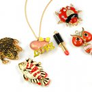 enamal animal pendant necklace owl fish love toad shape charms chain necklace
