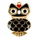 3 pcs enamel owl jewelry scarves pendant rhinestone DIY necklace charms PT791