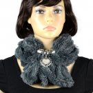 Winter warm scarf neck jewelry scarf elastic scarves alloy heart pendant NL-2046
