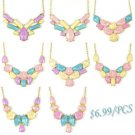 Candy color resin Geometric BIB choker fashion woman collar spring necklace